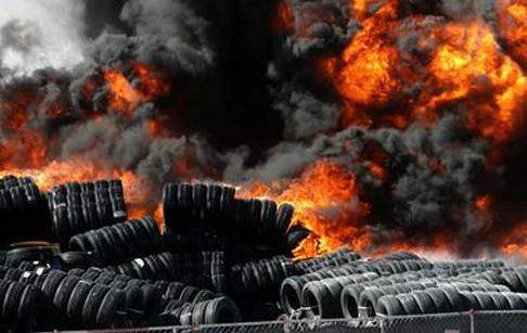 Waste tire on fire in Spain