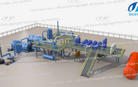 Danish customer order a set of waste tire pyrolysis plant with two recator