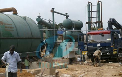 Nigeria waste tire recycling to fuel oil machine
