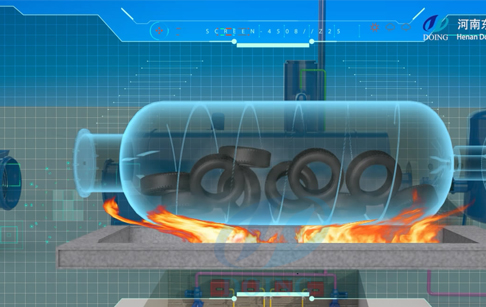 3D animation video of continuous pyrolysis plant processing waste tire /plastic running video