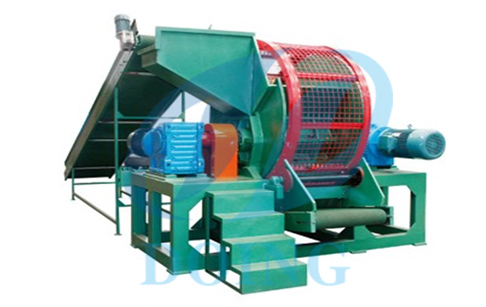 Whole tire shredder grinder machine crusher old tire running video