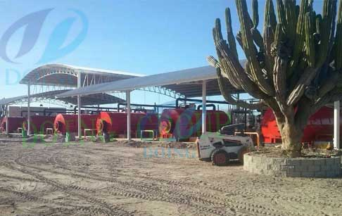 Mexico 10 set continuous process tyre pyrolysis plant processing waste tyre working video