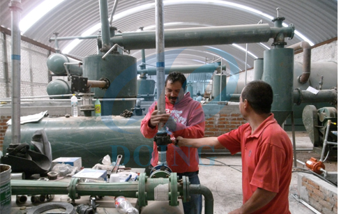 Mexico 6 sets waste tyre to fuel oil pyrolysis plant processing waste tyre to oil running video