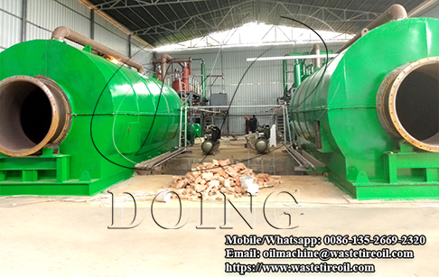 Two sets 12T/D waste tire to oil recycling machine installed in Sichuan, China