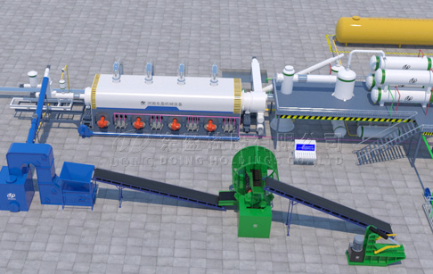 DOING fully continuous waste tire/plastic pyrolysis oil plant 3D video