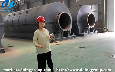 Live show of continuous tyre pyrolysis plant manufacturer's workshop