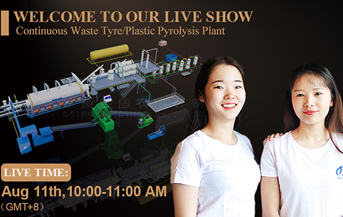 New product fully continuous waste tire/plastic/rubber pyrolysis plant live show