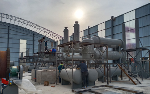 8 sets 12T waste tyre recycling to oil plant running in Shanxi, China