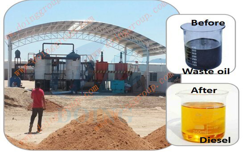 waste engine oil to diesel machine refining plant